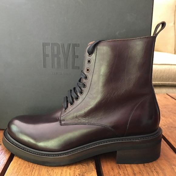 Frye Alice Combat Boots Dark Brown Nib